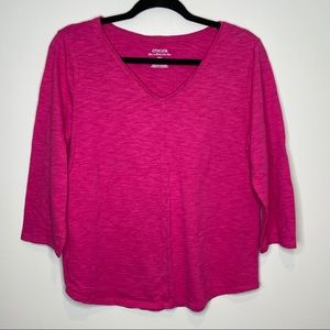 Chico's hot pink the ultimate Tee Sz 2 or M